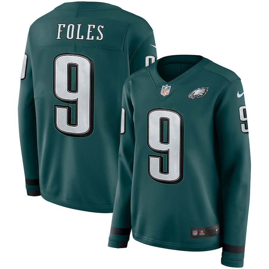 Women's Philadelphia Eagles #9 Nick Foles Green Therma Long Sleeve Stitched NFL Jersey