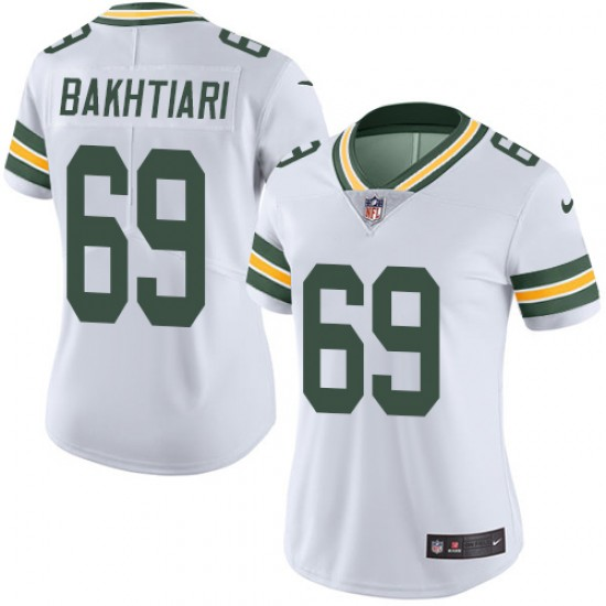 Women's Green Bay Packers #69 David Bakhtiari White Vapor Untouchable Limited Stitched NFL Jersey(Run Small)