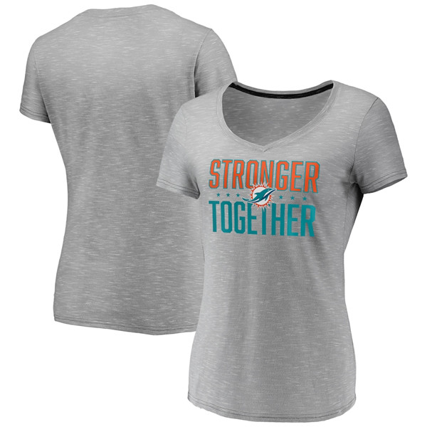 Women's Miami Dolphins Gray Stronger Together Space Dye V-Neck T-Shirt(Run Small)