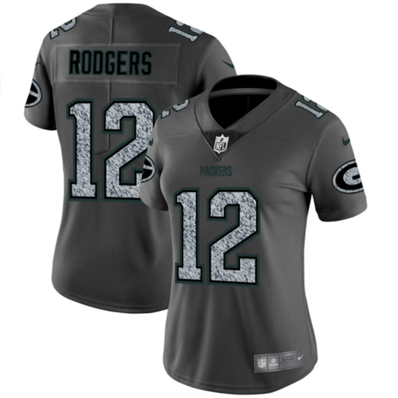 Women's Green Bay Packers #12 Aaron Rodgers 2019 Gray Fashion Static Limited Stitched NFL Jersey(Run Small)