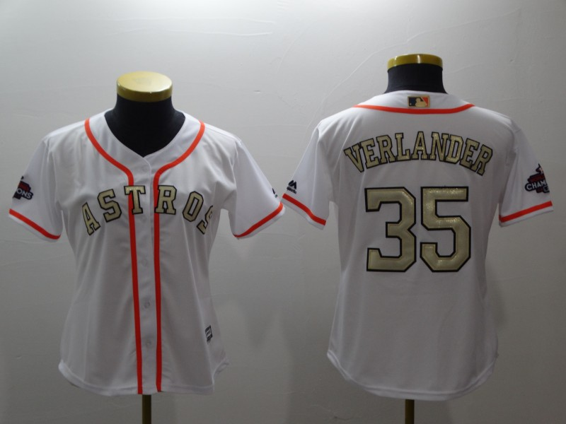 Women's Houston Astros #35 Justin Verlander Majestic White 2018 Gold Program Cool Base Player Stitched MLB Jersey