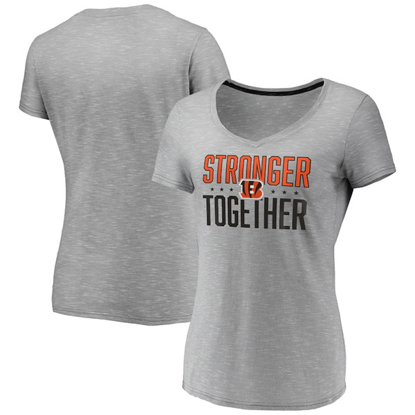 Women's Cincinnati Bengals Gray Stronger Together Space Dye V-Neck T-Shirt(Run Small)