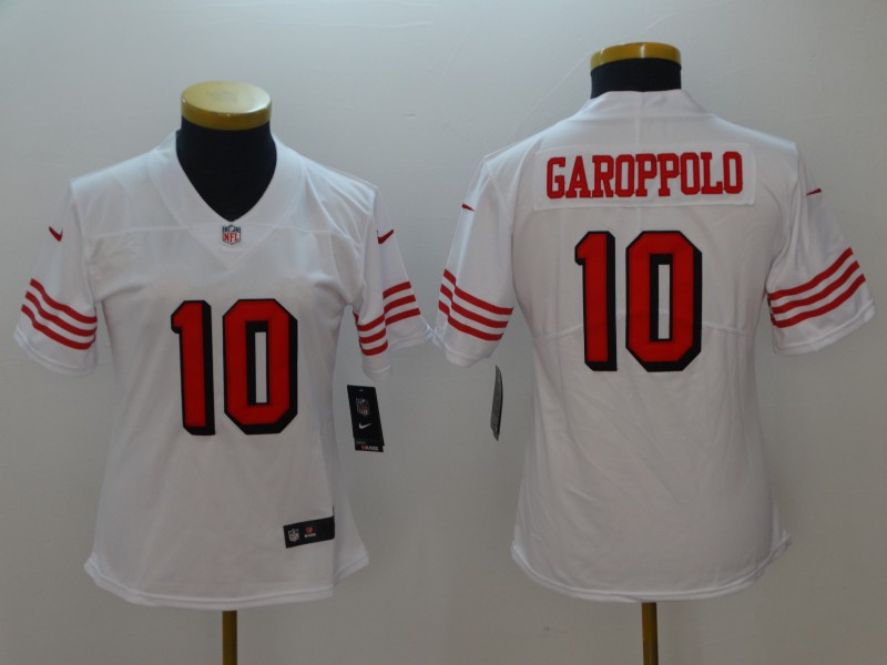 73d4cb6f8 Women s NFL San Francisco 49ers  10 Jimmy Garoppolo White Vapor Untouchable  Limited Stitched Jersey