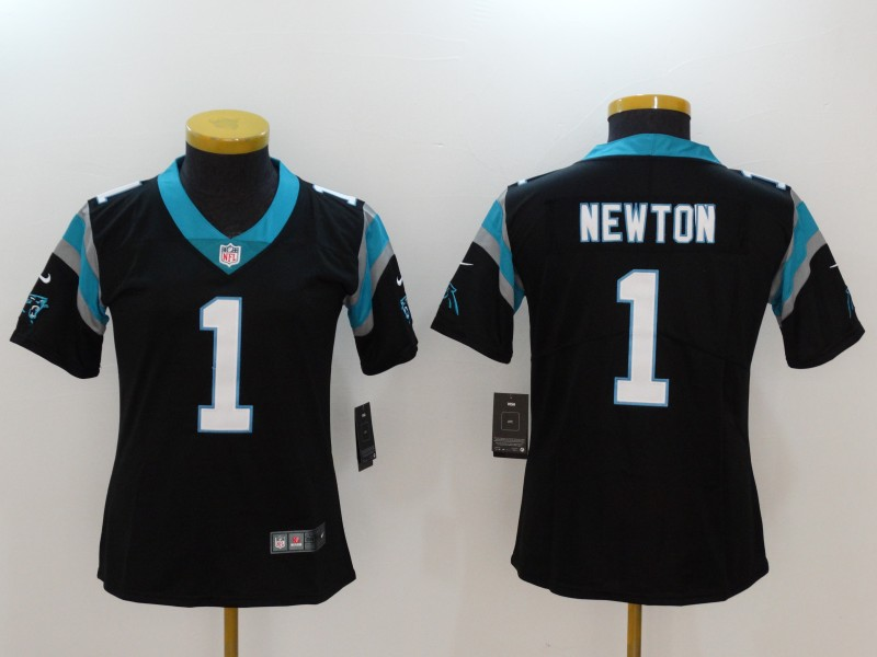Women's Carolina Panthers #1 Cam Newton Black Vapor Untouchable Player Limited Jersey