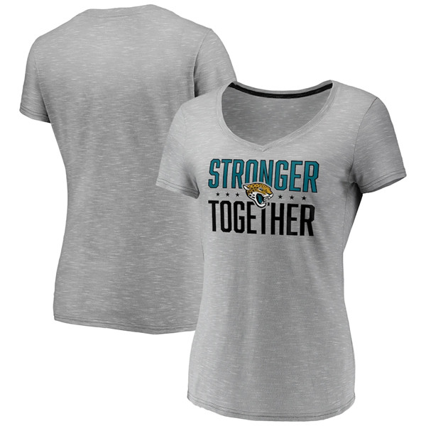Women's Jacksonville Jaguars Gray Stronger Together Space Dye V-Neck T-Shirt(Run Small)