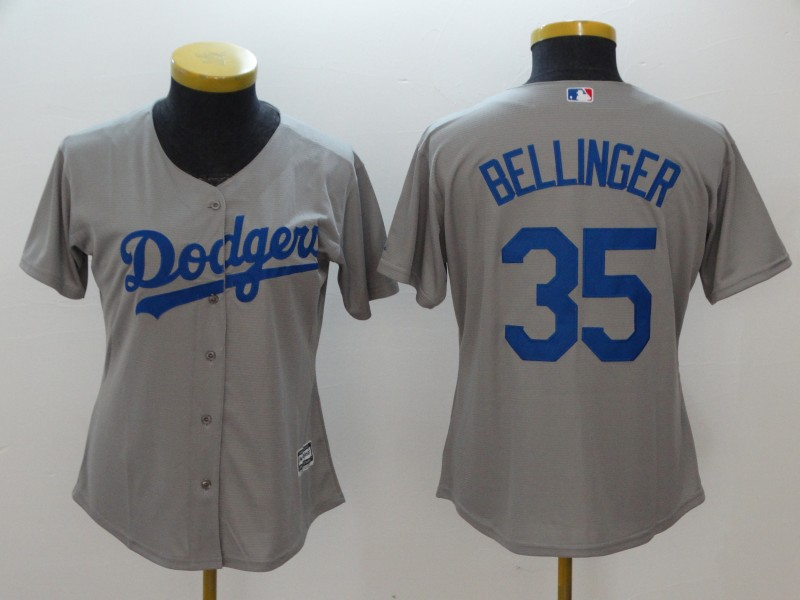 Women's Los Angeles Dodgers #35 Cody Bellinger Gray Cool Base Stitched MLB Jersey