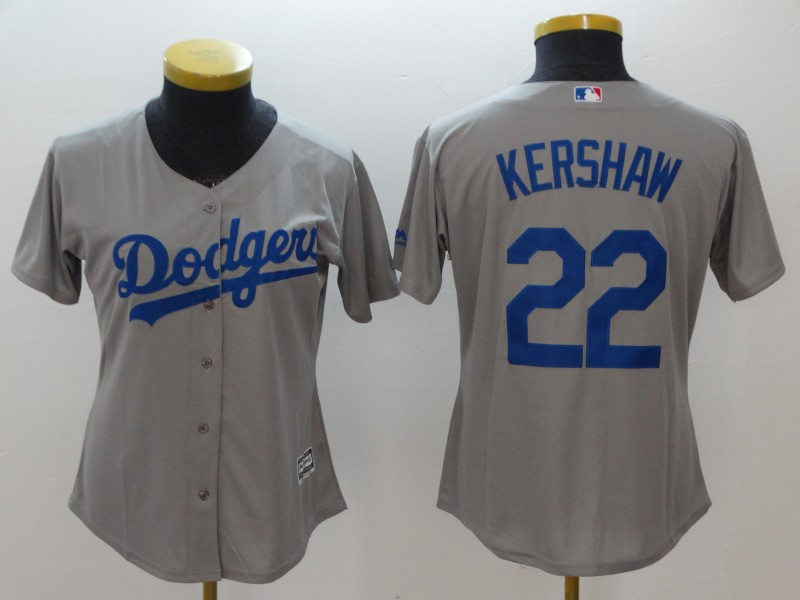Women's Los Angeles Dodgers #22 Clayton Kershaw Gray Cool Base Stitched MLB Jersey