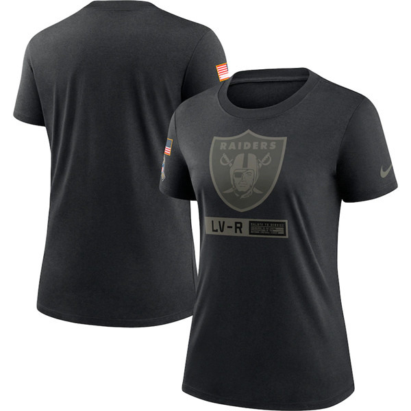 Women's Las Vegas Raiders 2020 Black Salute To Service Performance NFL T-Shirt (Run Small)
