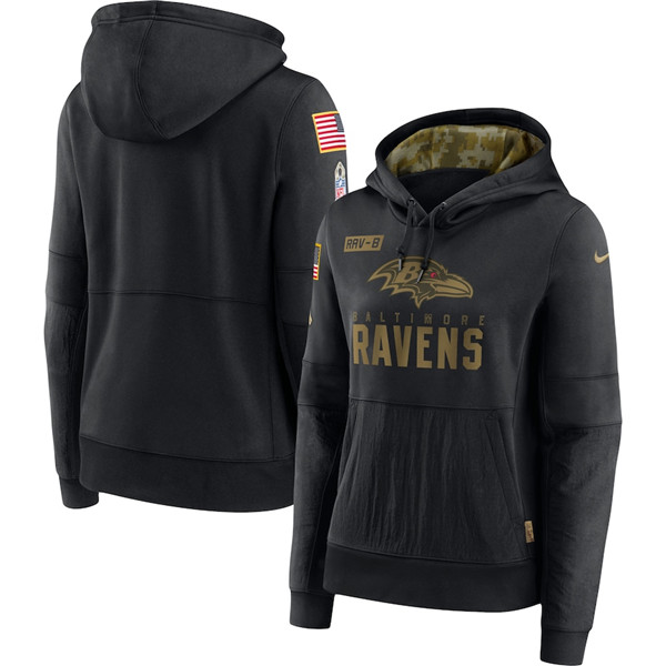 Women's Baltimore Ravens 2020 Black Salute to Service Sideline Performance Pullover NFL Hoodie (Run Small)