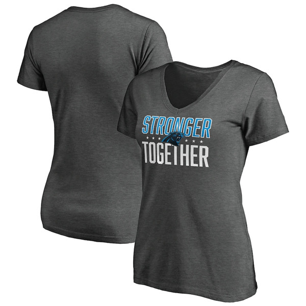 Women's Carolina Panthers Heather Stronger Together Space Dye V-Neck T-Shirt(Run Small)