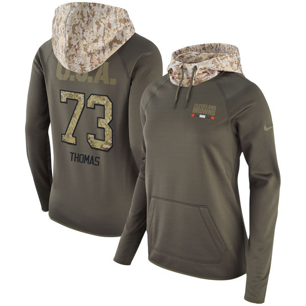 Women's Cleveland Browns #73 Joe Thomas Olive Salute to Service Sideline Therma Pullover Hoodie