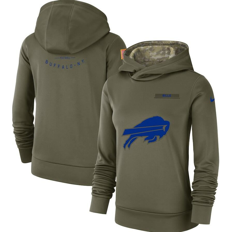 Women's Buffalo Bills Olive Salute to Service Team Logo Performance Pullover NFL Hoodie