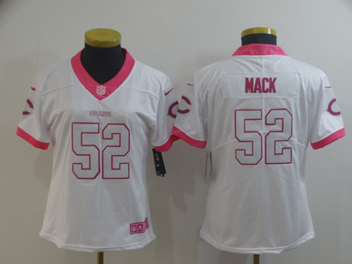 Women's Chicago Bears #52 Khalil Mack White/Pink Vapor Untouchable Limited Stitched NFL Jersey(Run Small)