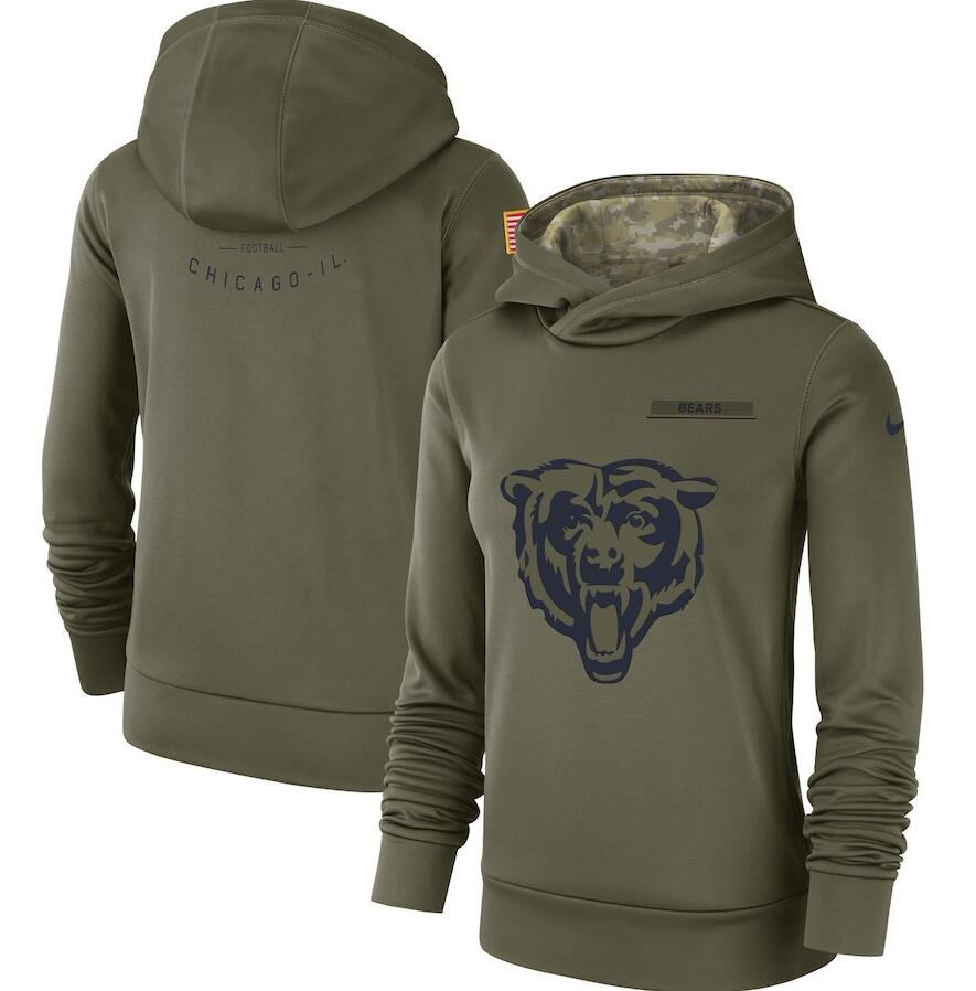 Women's Chicago Bears Olive Salute to Service Team Logo Performance Pullover NFL Hoodie