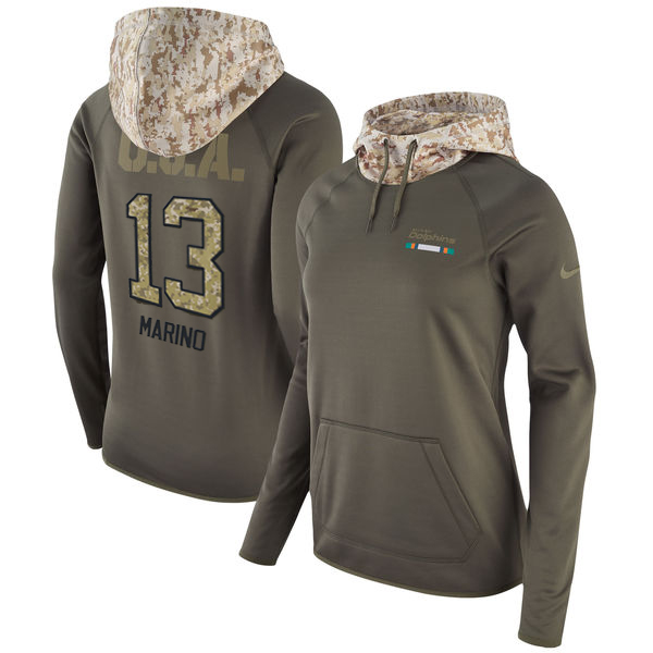 Women's Miami Dolphins #13 Dan Marino Olive Salute to Service Sideline Therma Pullover Hoodie