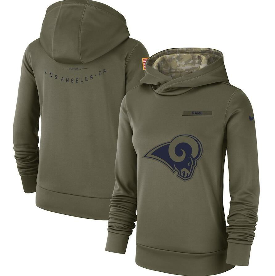 Women's Los Angeles Rams Olive Salute to Service Team Logo Performance Pullover NFL Hoodie