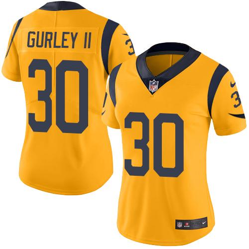 Nike Rams #30 Todd Gurley II Gold Women's Stitched NFL Limited Rush Jersey