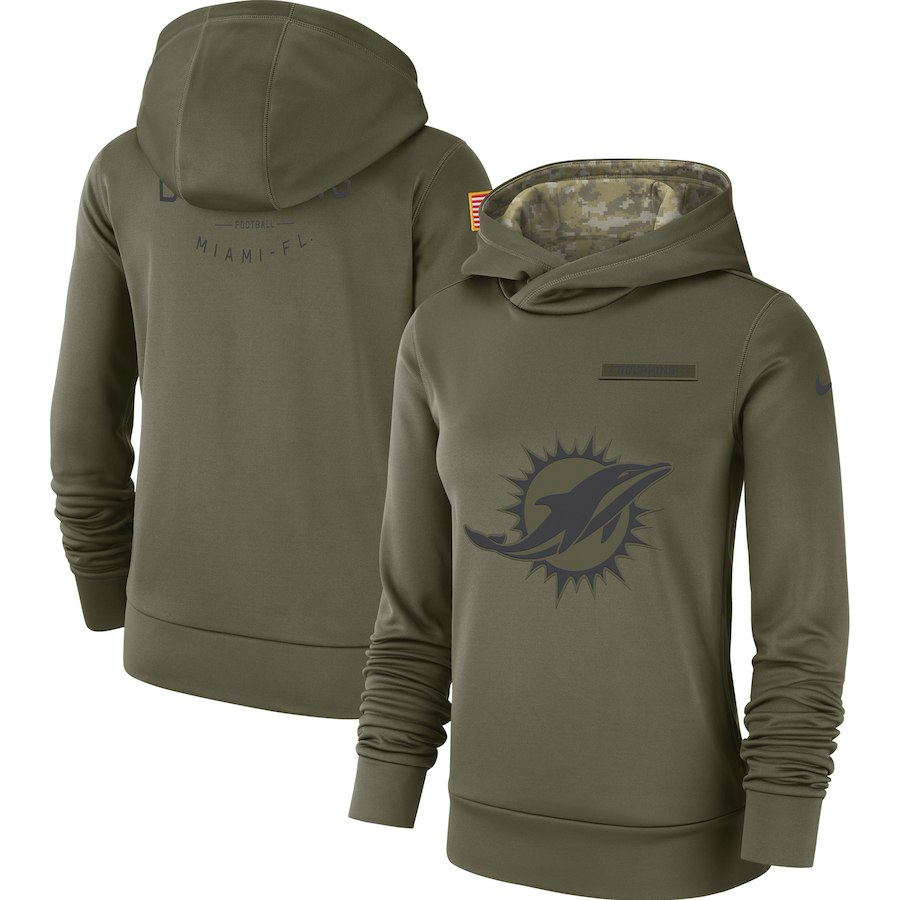 Women's Miami Dolphins Olive Salute to Service Team Logo Performance Pullover NFL Hoodie