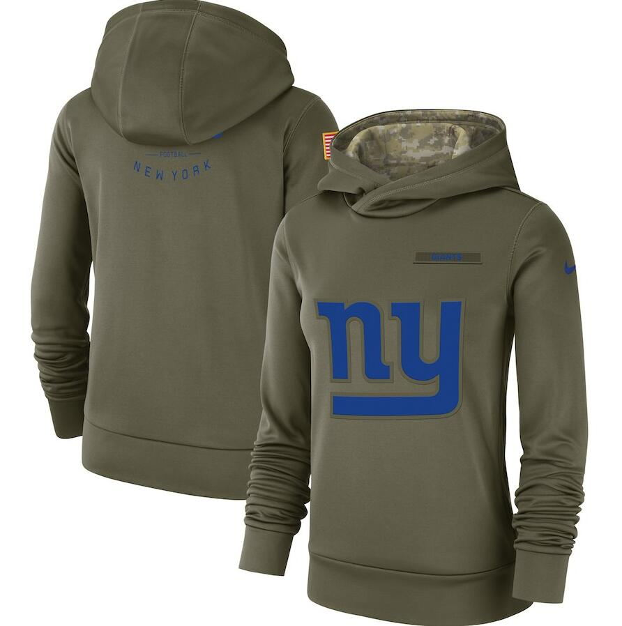 Women's New York Giants Olive Salute to Service Team Logo Performance Pullover NFL Hoodie