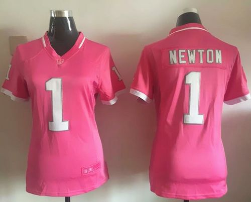 Nike Panthers #1 Cam Newton Pink Women's Stitched NFL Elite Bubble Gum Jersey