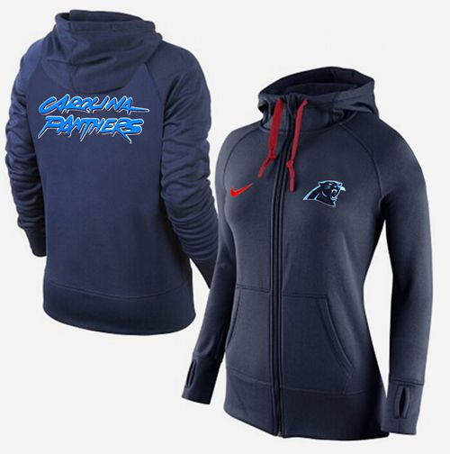 Women's Nike Carolina Panthers Full-Zip Performance Hoodie Dark Blue