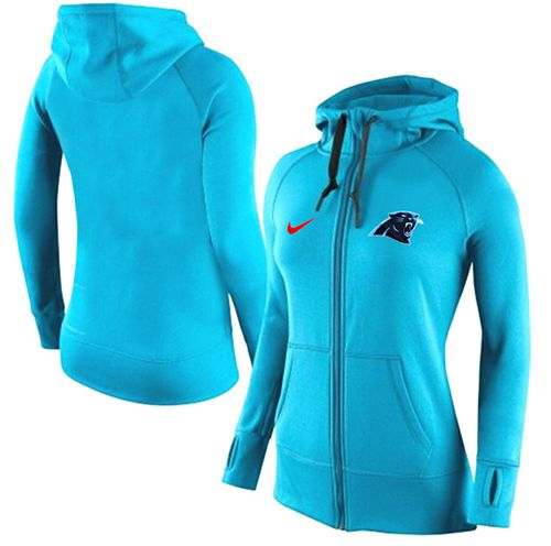 Women's Nike Carolina Panthers Full-Zip Performance Hoodie Light Blue