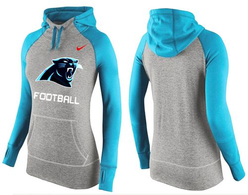 Women's Nike Carolina Panthers Performance Hoodie Grey & Light Blue_1