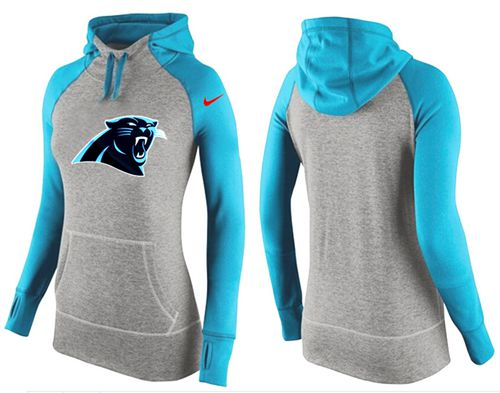 Women's Nike Carolina Panthers Performance Hoodie Grey & Light Blue_2