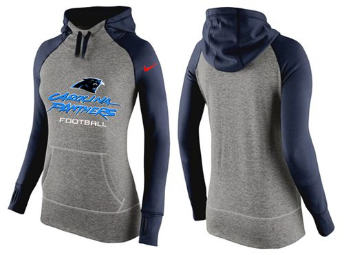 Women's Nike Carolina Panthers Performance Hoodie Grey & Dark Blue