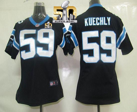 Nike Panthers #59 Luke Kuechly Black Team Color Super Bowl 50 Women's Stitched NFL Elite Jersey