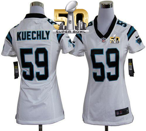 Nike Panthers #59 Luke Kuechly White Super Bowl 50 Women's Stitched NFL Elite Jersey