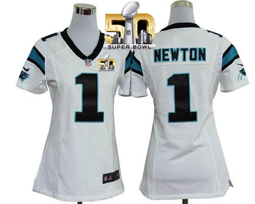 Nike Panthers #1 Cam Newton White Super Bowl 50 Women's Stitched NFL Elite Jersey