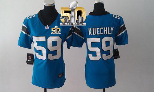 Nike Panthers #59 Luke Kuechly Blue Alternate Super Bowl 50 Women's Stitched NFL Elite Jersey