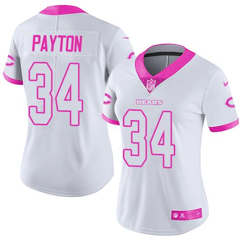Nike Bears #34 Walter Payton White/Pink Women's Stitched NFL Limited Rush Fashion Jersey