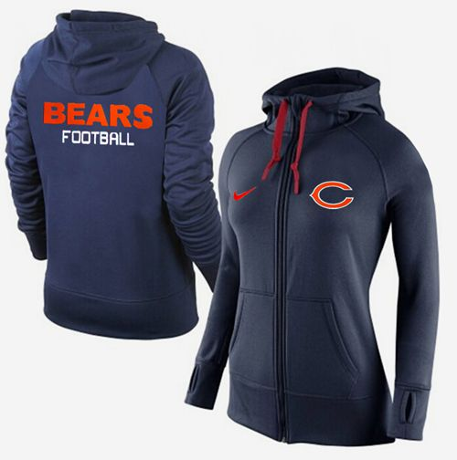 Women's Nike Chicago Bears Full-Zip Performance Hoodie Dark Blue