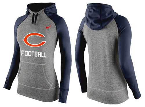 Women's Nike Chicago Bears Performance Hoodie Grey & Dark Blue