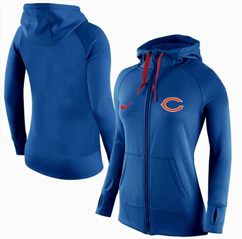 Women's Nike Chicago Bears Full-Zip Performance Hoodie Blue