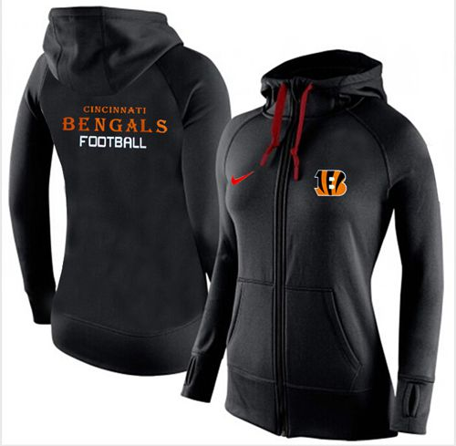 Women's Nike Cincinnati Bengals Full-Zip Performance Hoodie Black
