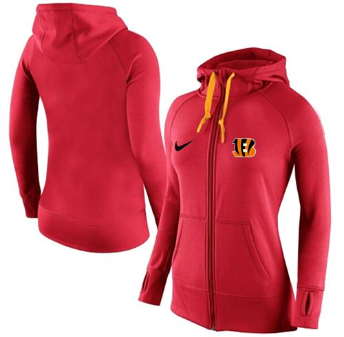 Women's Nike Cincinnati Bengals Full-Zip Performance Hoodie Red