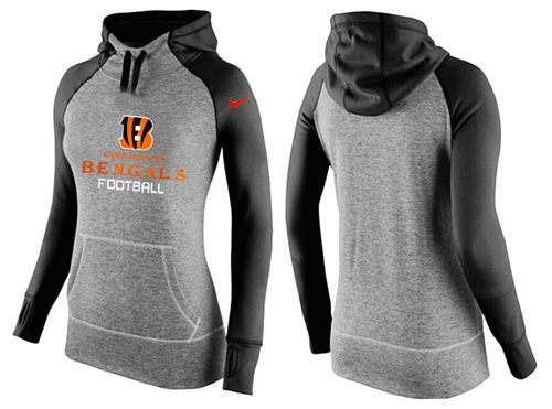 Women's Nike Cincinnati Bengals Performance Hoodie Grey & Black
