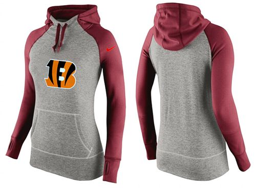 Women's Nike Cincinnati Bengals Performance Hoodie Grey & Red_3