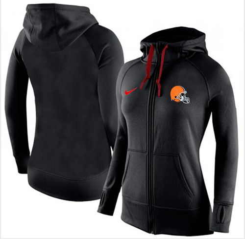Women's Nike Cleveland Browns Full-Zip Performance Hoodie Black