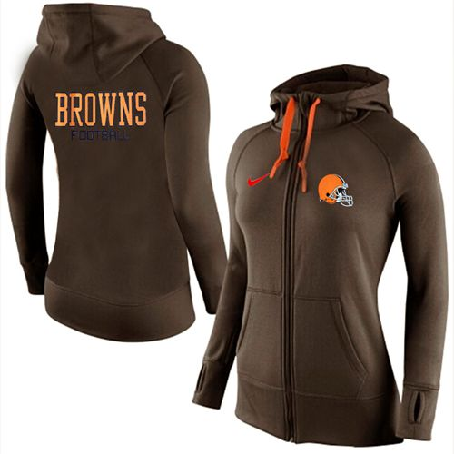 Women's Nike Cleveland Browns Full-Zip Performance Hoodie Brown