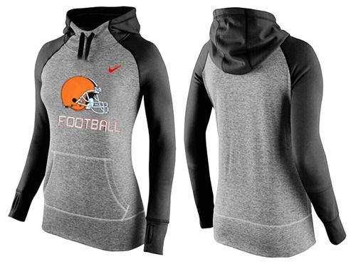 Women's Nike Cleveland Browns Performance Hoodie Grey & Black