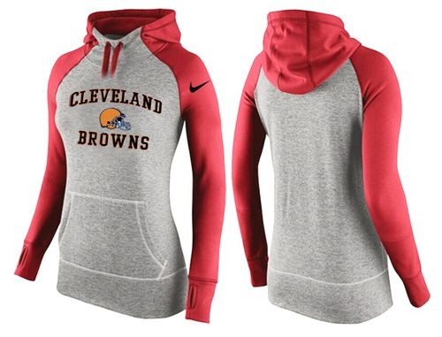 Women's Nike Cleveland Browns Performance Hoodie Grey & Red_2
