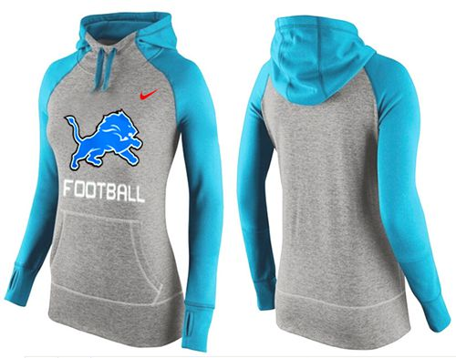 Women's Nike Detroit Lions Performance Hoodie Grey & Light Blue