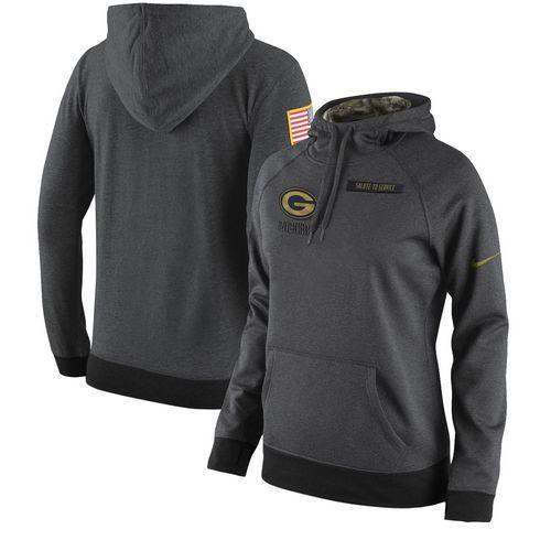 Women's Green Bay Packers Nike Anthracite Salute to Service Player Performance Hoodie