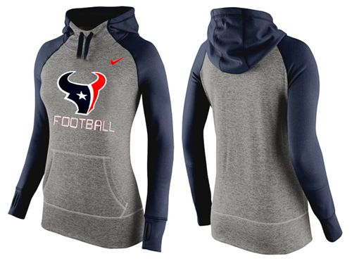 Women's Nike Houston Texans Performance Hoodie Grey & Dark Blue