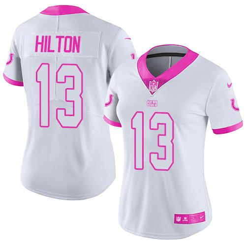 Nike Colts #13 T.Y. Hilton White/Pink Women's Stitched NFL Limited Rush Fashion Jersey