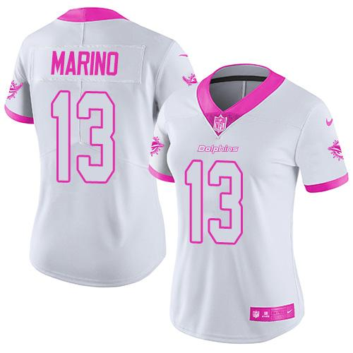 Nike Dolphins #13 Dan Marino White/Pink Women's Stitched NFL Limited Rush Fashion Jersey